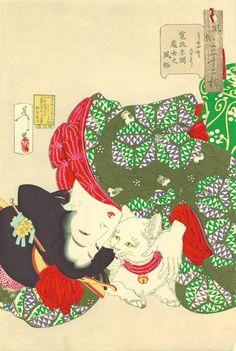 月岡芳年『風俗三十二相 うるささう 寛政年間處女之風俗』(1888年)