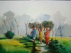 Landscape Painting Artists, Watercolor Landscape Paintings, Watercolor Artwork, Watercolor Paintings For Beginners, Watercolor Pictures, Art Village, Indian Village, Scenery Paintings, Indian Art Paintings