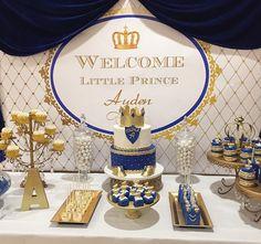 Blue And Gold Royal Prince Baby Shower cakepins.com