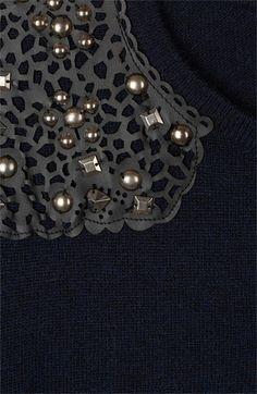 Embellished Tees — Lacy leather + Studs | Topshop Embellished Shoulder Sweater | Nordstrom