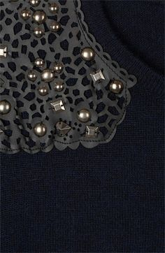 Embellished Tees — Lacy leather + Studs | Topshop Embellished Shoulder Sweater | Nordstrom