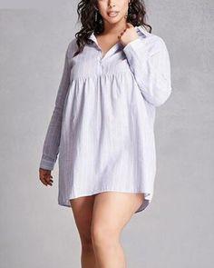 Gray striped shirt dress plus size long style for fat women