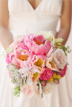 To Make This Pink + White Bouquet From Kiko's Flowers Peonies, garden roses, soft pinks and pops and yellow. Such a beautiful wedding bouquet!Peonies, garden roses, soft pinks and pops and yellow. Such a beautiful wedding bouquet! Garden Party Wedding, Mod Wedding, Dream Wedding, Horse Wedding, Trendy Wedding, Rose Wedding Bouquet, Wedding Flowers, Rose Bouquet, Bridal Bouquets