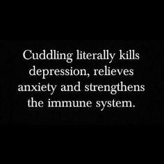 Cuddling literally kills depression, relives anxiety and strengthens the immune system. 「抱きしめることは、まさに、絶望感を失くし、悩みを取り除き、そして、免疫システムを強くする。」
