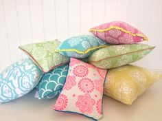 Messy Posey cushion cover - white ink on aqua linen with yellow pompom trim - hardtofind.
