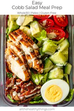 Easy Cobb Salad Meal Prep - This easy Meal Prep Cobb Salad recipe is a simple healthy lunch option to make for the week. Easy Healthy Meal Prep, Easy Healthy Recipes, Healthy Eating, Simple Healthy Lunch, Simple Meal Prep, Healthy Meals For One, Clean Eating, Healthy Meal Options, Healthy Meal Prep Lunches