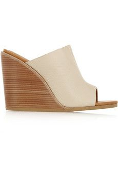 See by Chloé Anna textured-leather wedge mules | NET-A-PORTER