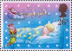 Christmas 26p Stamp (1987) Sleeping Child and Father Christmas in Sleigh