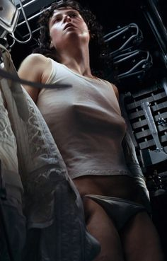Sigourney Weaver as Sgt.Ridley hiding from the Alien in that original movie in 1979