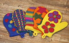 Colorful Felted Wool Oven Mitts