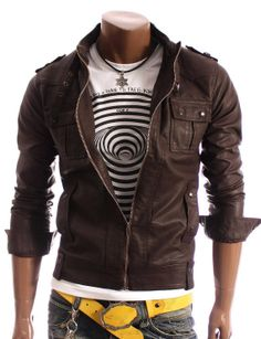 Men's leather jacket Men stand Collar Slim by Myleatherjackets, $179.99
