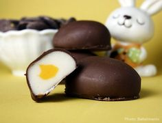 Homemade Cadbury Eggs...needs modification for allergy friendliness-vegan chocolate and coconut oil for butter?