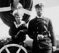 tsarevich alexei nikolaevich with tsar nicholas ii aboard the standart. photo restoration by natasha komenko