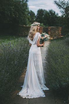 Ophelia Belle Bunty Lace Dress Gown Bride Bridal Low Back Pretty Peach Boho Wedding http://liamsmithphotography.com/