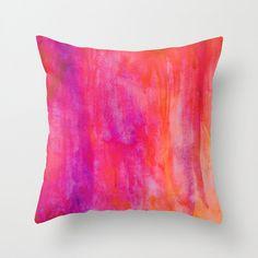 Purple Pink and Orange Watercolor Art Throw Pillow by SABartStudio
