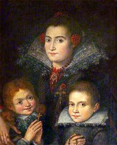 This is the face of a mother who has yanked her son back into the picture, right after Miss Angelic kicked him.  Mom is not fooled, and just wants this over with.  Portrait of an Unknown Mother with Two Children by Juan Pantoja de la Cruz c.1600