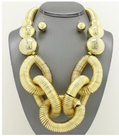 Gold Chain Chunky Necklace Set by KeishasAccessoryShop on Etsy