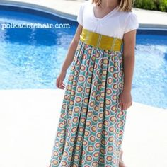 Maxi Dress for girls so cute i could definatly do a mommy and me with this a ties for the boys with ectra fabric