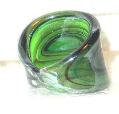 Fused Art Glass finger ring  size 8.5 #Unbranded #Rings