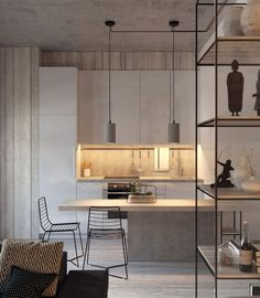 rustic contemporary kitchen in whitewashed shades of gray -concrete counters as well as pendants and planters by Decha Archjananun unit wire accents and concrete themes throughout the home.