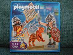 Playmobil Romans and Tiger Item #5838 NIB 15 Pieces Sealed #PLAYMOBIL