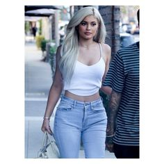 Kylie Jenner Tank Top Photos Beverly Hills ❤ liked on Polyvore featuring tops, pictures, blue tank top, blue tank and blue top