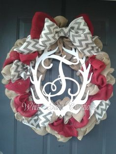 *******Burlap Monogram Antler Wreath with Chevron Burlap Ribbon******** Be one of the first to enjoy this Burlap Monogram Antler Wreath. Burlap Monogram, Chevron Burlap, Monogram Wreath, Burlap Ribbon, Burlap Wreath, Antler Wreath, Antlers, Fall Halloween, Seasonal Decor