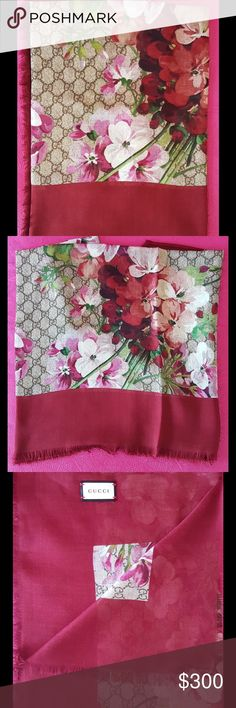 Gucci GG Red Blooms Shawl Gucci GG Red Blooms Shawl. Made in Italy. Modal and silk shawl. Gucci Accessories Scarves & Wraps