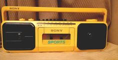 vintage sony sports am/fm stereo cassette yellow retro boombox ( cfs-950) from $11.99