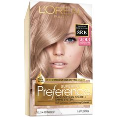 L'Oreal Paris Superior Preference Fade Defying Color + Shine System Medium Rose Blonde - All For New Hairstyles Rose Blonde, Red To Blonde, Medium Blonde, Blonde Color, Blonde Hair, Loreal Hair Color Blonde, Golden Blonde, Blonde Balayage, Blonde Highlights