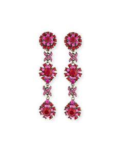 Y37XT Jose & Maria Barrera Linear Link Crystal Drop Earrings, Red