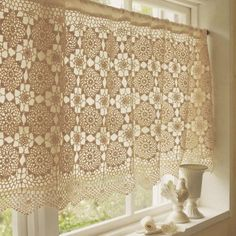 crochet curtain, could modify this to make a nice shawl or scarf