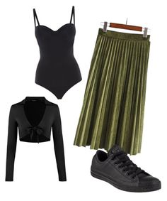 """casual"" by dixielarouge on Polyvore featuring Wolford and Converse"