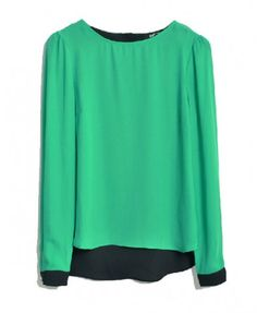 Green Color Block Round Neckline Chiffon Top with High Low Hem