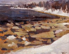 "Akseli Gallen-Kallela ""Ice Floes at Kalela's Shore"" Finland Chur, Prinz Eugen, Nordic Art, Canadian Art, Art Images, Landscape Paintings, Scandinavian, Photos, Drawings"