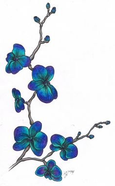Blue Orchids by MitchBarberTattoos on DeviantArt