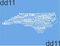North Carolina State Word Art North Carolina Art Typography Print The Tar Heel State North Carolina State Pride North Carolina Print Carolina Blue, North Carolina, Blowing Rock, Nautical Nursery, Typography Prints, Southern Charm, Garage Storage, Shabby Chic Decor, Word Art