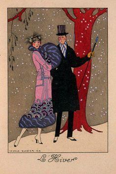 """George Barbier - """"L'Hiver"""", 1919 - [in; La Guirlande des Mois, Paris 1920 ?]"""