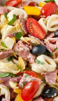 This tortellini pasta salad is packed with all the robust flavors of a classic antipasto plate--ham, salami, smoked provolone, artichokes, and more! Pasta Dishes, Food Dishes, Side Dishes, Antipasto Salad, Antipasto Plate, Pasta Salad With Tortellini, Olive Salad, Cooking Recipes, Healthy Recipes
