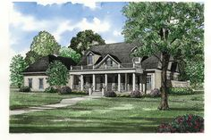Traditional Style House Plan - 4 Beds 4.50 Baths 3740 Sq/Ft Plan #17-225 Exterior - Front Elevation