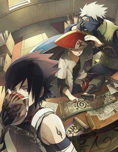 Hokage Naruto, Jounin Kakashi, and Anbu Sasuke