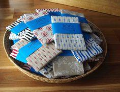 A basket of Yardage Design handprinted fabric