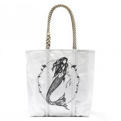 Mermaid Sea Tote Bag - Handcrafted from recycled sails, each Sea Bag is unique with its own subtle variations. Some hold fingerprints of the sea, with marks of salt, rust, and different colors. Alex and Ani.    Femininity • Love • Mystery