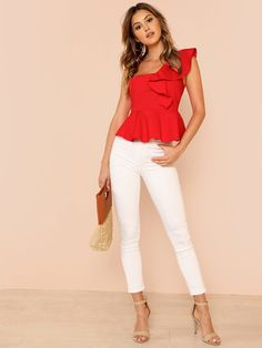 Glamorous Red Ruffle Trim One Shoulder Peplum Slim Fit Peplum Plain Top Cap Sleeve Blouse Women Spring Elegant Blouses Peplum Tops, Holiday Party Outfit, Party Outfits, Plain Tops, Summer Blouses, Ruffle Trim, Blouses For Women, Love Fashion, Ideias Fashion