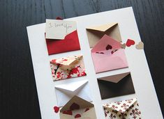 Card Size: 5 x 7 Envelope: A7 red envelope Paper: Cards printed on 80# 100% recycled, acid free, white fiber card stock. Tiny Envelope Size: Approximately 1 x 1.5 Features 8 tiny envelopes: 6 with a blank card for writing custom messages; 2 with mini heart confetti. Made from various