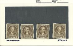 US 1931 # 704 - 1/2¢ Washington - olive brown collection of 4 stamps MNH