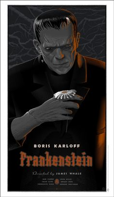 Universal Classic Monsters Poster Art : Frankenstein 1931 by Laurent Durieux Boris Karloff Frankenstein, Art Frankenstein, Shelley Frankenstein, Horror Movie Posters, Movie Poster Art, Horror Films, Print Poster, Disney Posters, Poster Series