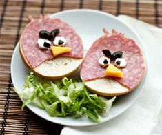 Salami and bagel angry birds.  Lunch is served!
