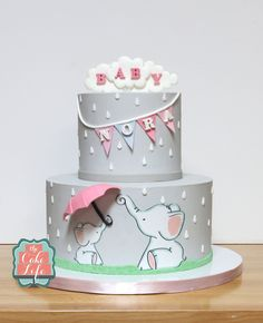 Painted Baby Shower Cake. - baby Elephant Umbrella Mommy Flag Bunting Cake