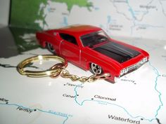 CUSTOM MINT KEYCHAIN 1969 FORD TORINO TALLADEGA ,RED W/CHROME MAGS #HotWheels #Ford